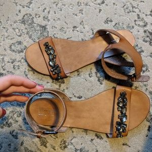 Ankle strapped bejeweled sandals